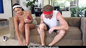 TheRealWorkout - busty swarthy screwed By The Fitness trainer